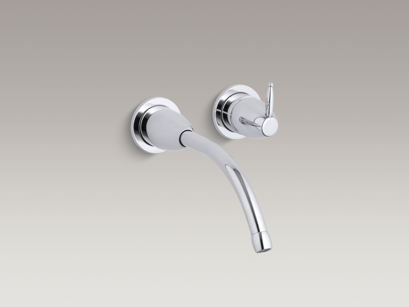 """Kohler Falling Water® K-T196-CP Wall-mount bathroom sink faucet trim with 8-1/4"""" spout, requires valve Polished Chrome"""