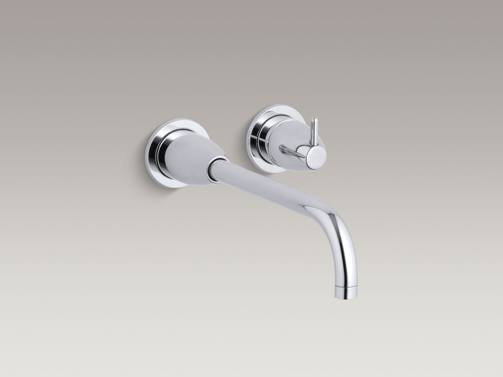 """Kohler Falling Water® K-T197-CP Wall-mount bathroom sink faucet trim with 10-1/4"""" angular spout, requires valve Polished Chrome"""