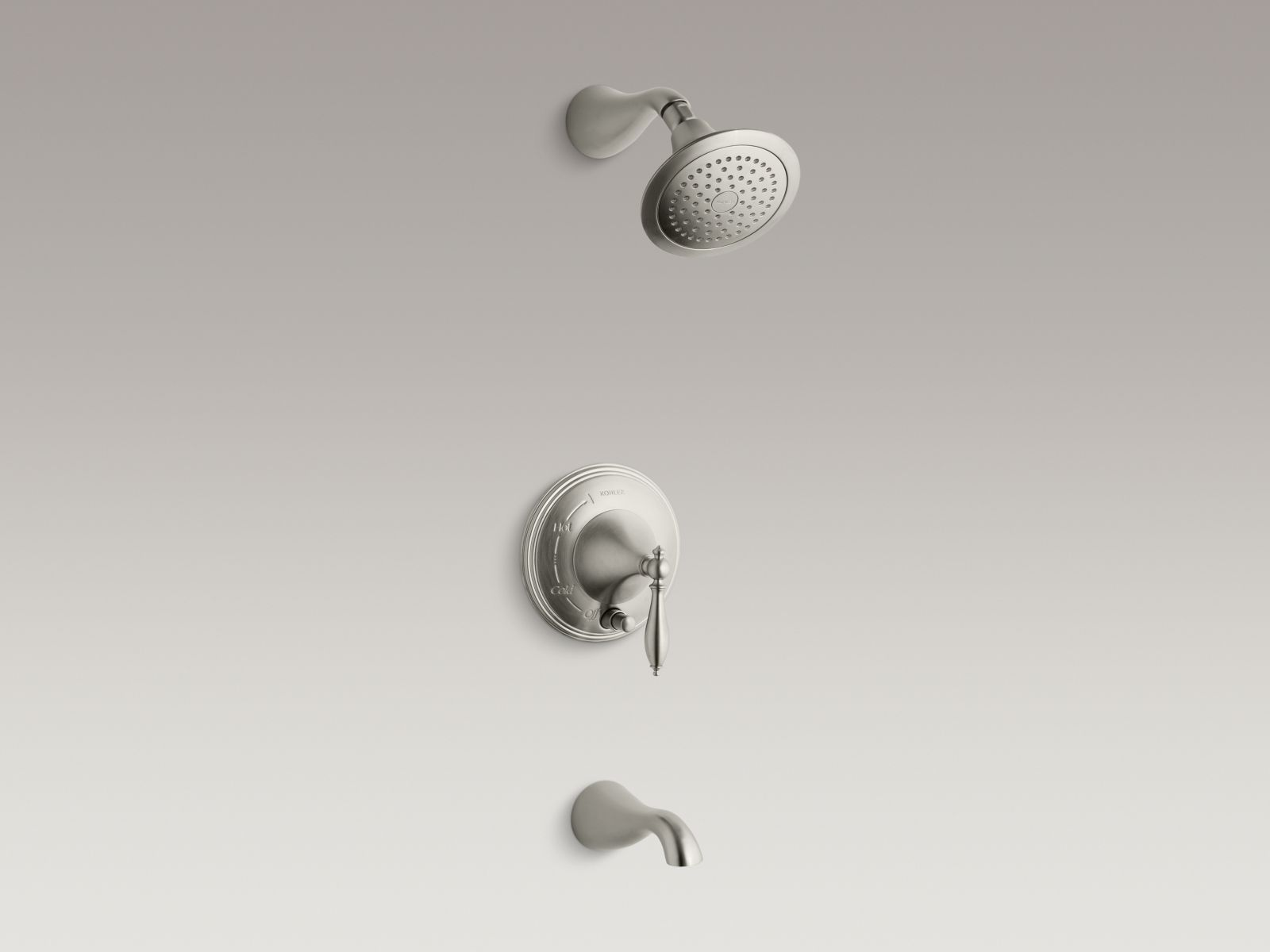 Kohler Finial® K-T312-4M-BN Rite-Temp® pressure-balancing bath and shower faucet trim with push-button diverter and lever handle, valve not included Vibrant Brushed Nickel