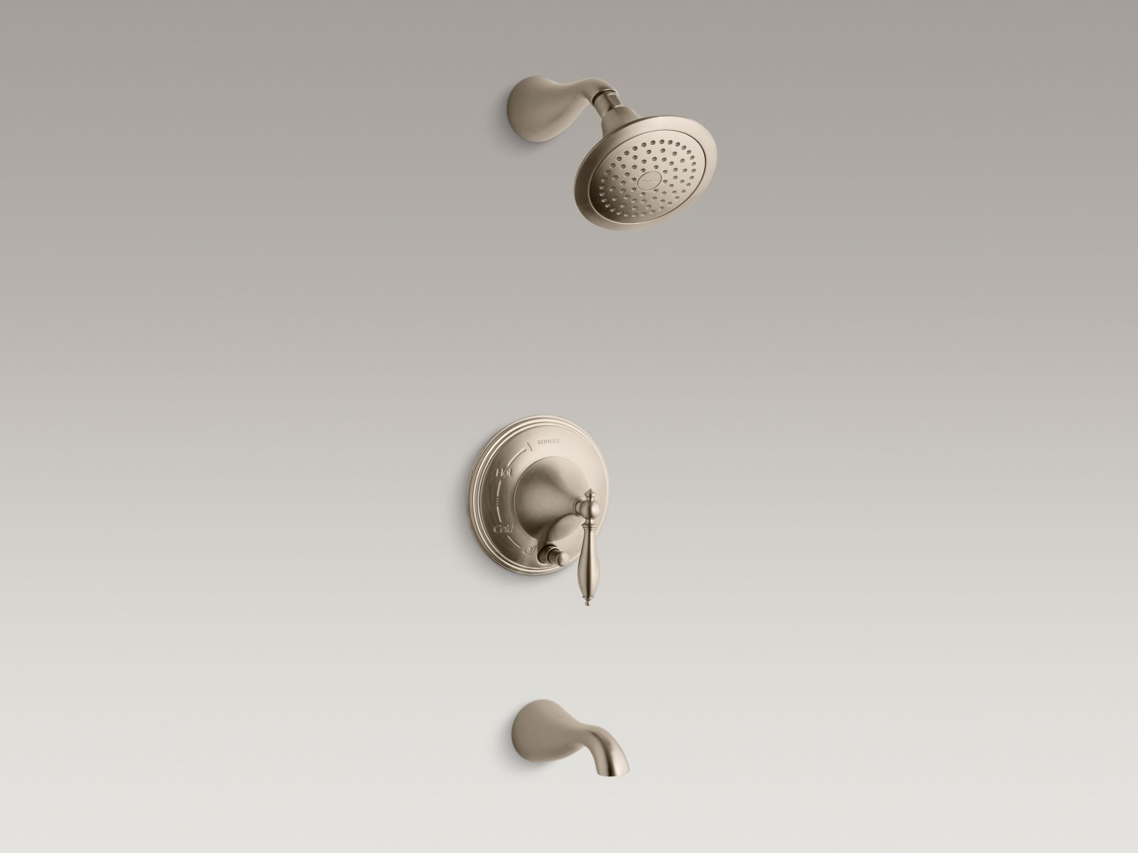 Kohler Finial® K-T312-4M-BV Rite-Temp® pressure-balancing bath and shower faucet trim with push-button diverter and lever handle, valve not included Vibrant Brushed Bronze