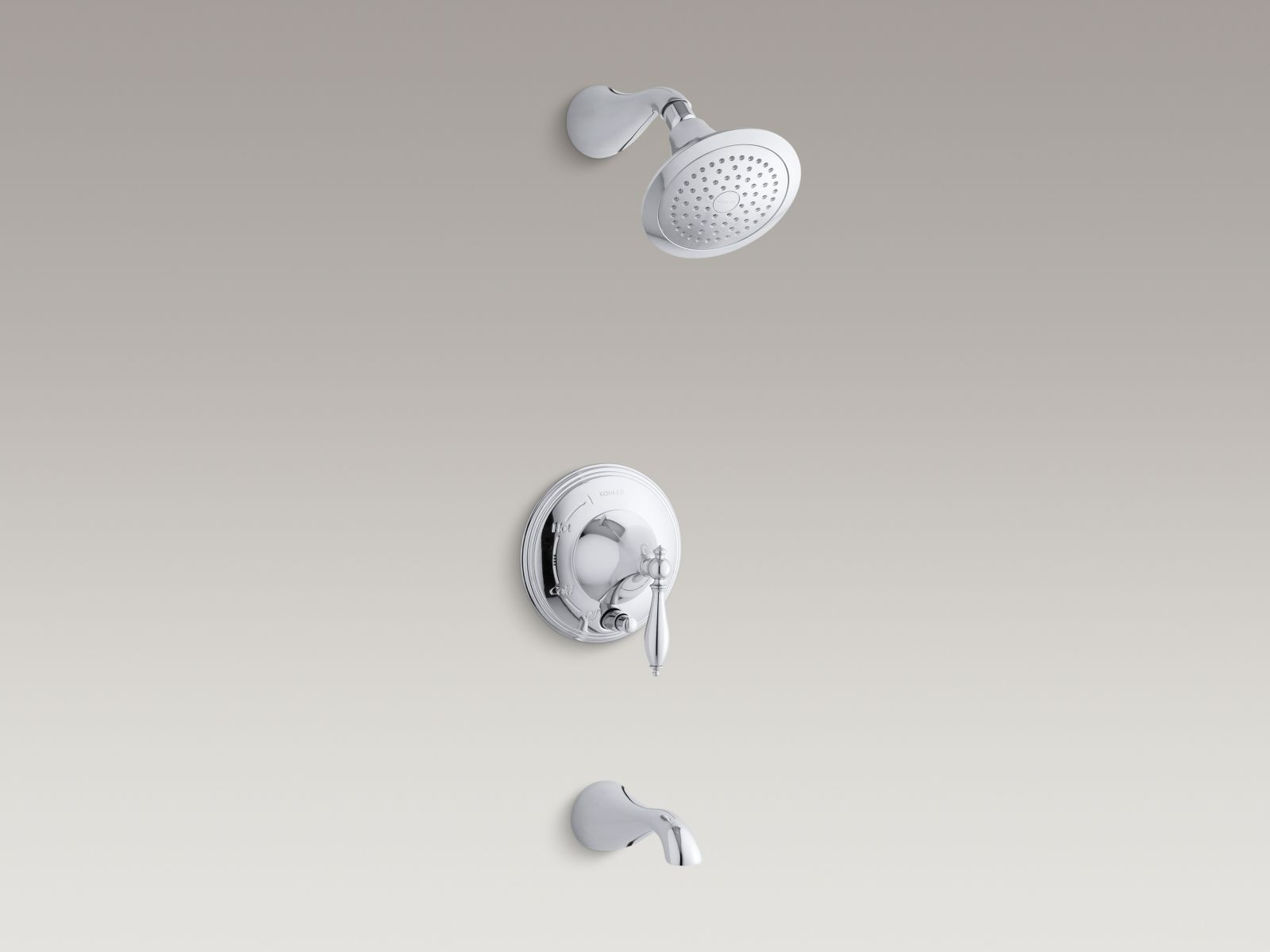 Kohler Finial® K-T312-4M-CP Rite-Temp® pressure-balancing bath and shower faucet trim with push-button diverter and lever handle, valve not included Polished Chrome