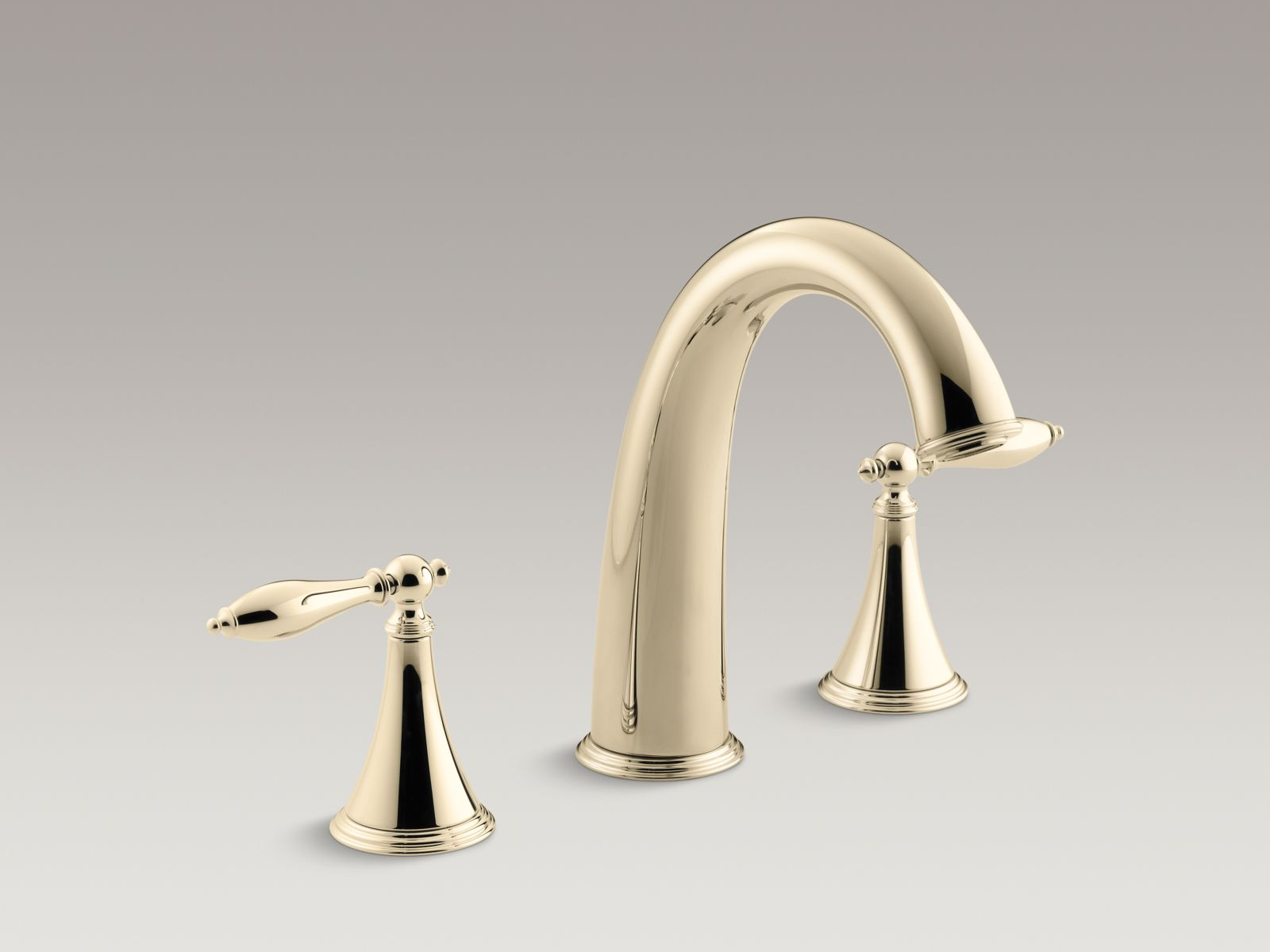 Kohler Finial® Traditional K-T314-4M-AF Deck-mount bath faucet trim for high-flow valve with lever handles, valve not included Vibrant French Gold