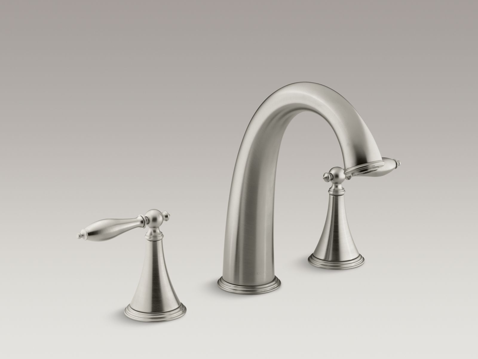 Kohler Finial® Traditional K-T314-4M-BN Deck-mount bath faucet trim for high-flow valve with lever handles, valve not included Vibrant Brushed Nickel
