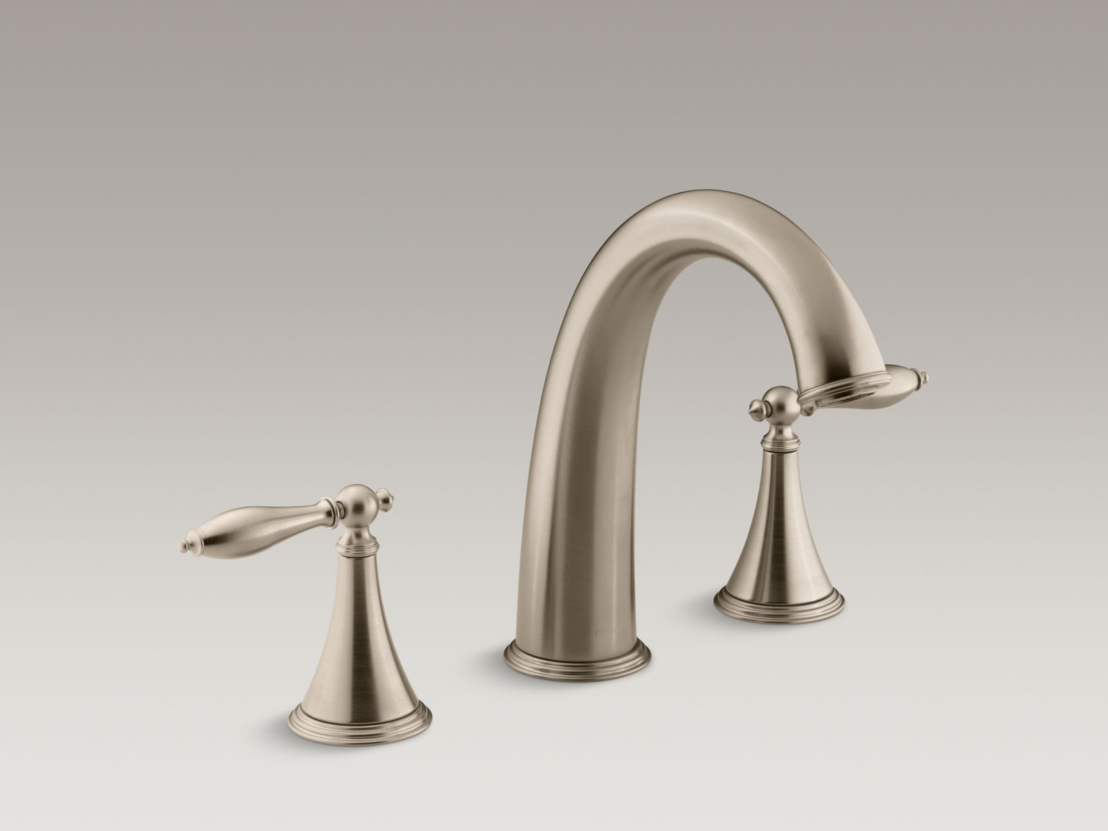 Kohler Finial® Traditional K-T314-4M-BV Deck-mount bath faucet trim for high-flow valve with lever handles, valve not included Vibrant Brushed Bronze