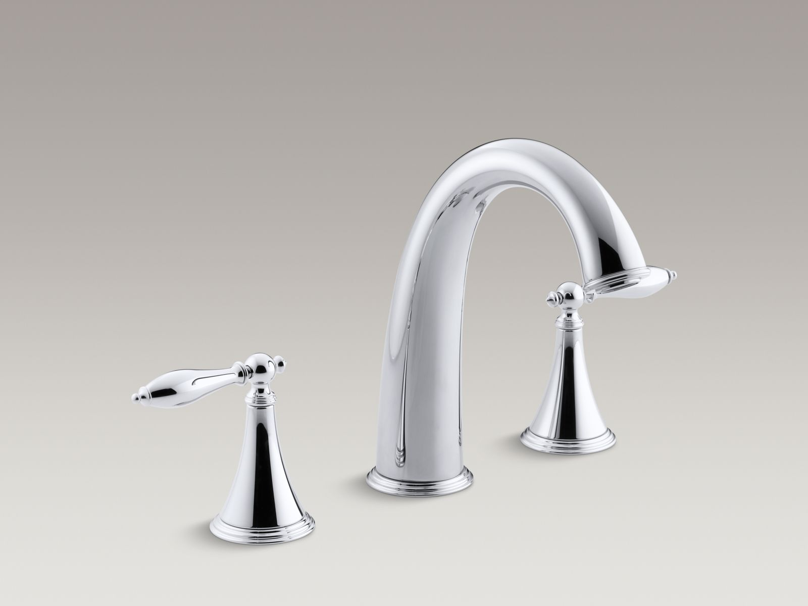 Kohler Finial® Traditional K-T314-4M-CP Deck-mount bath faucet trim for high-flow valve with lever handles, valve not included Polished Chrome