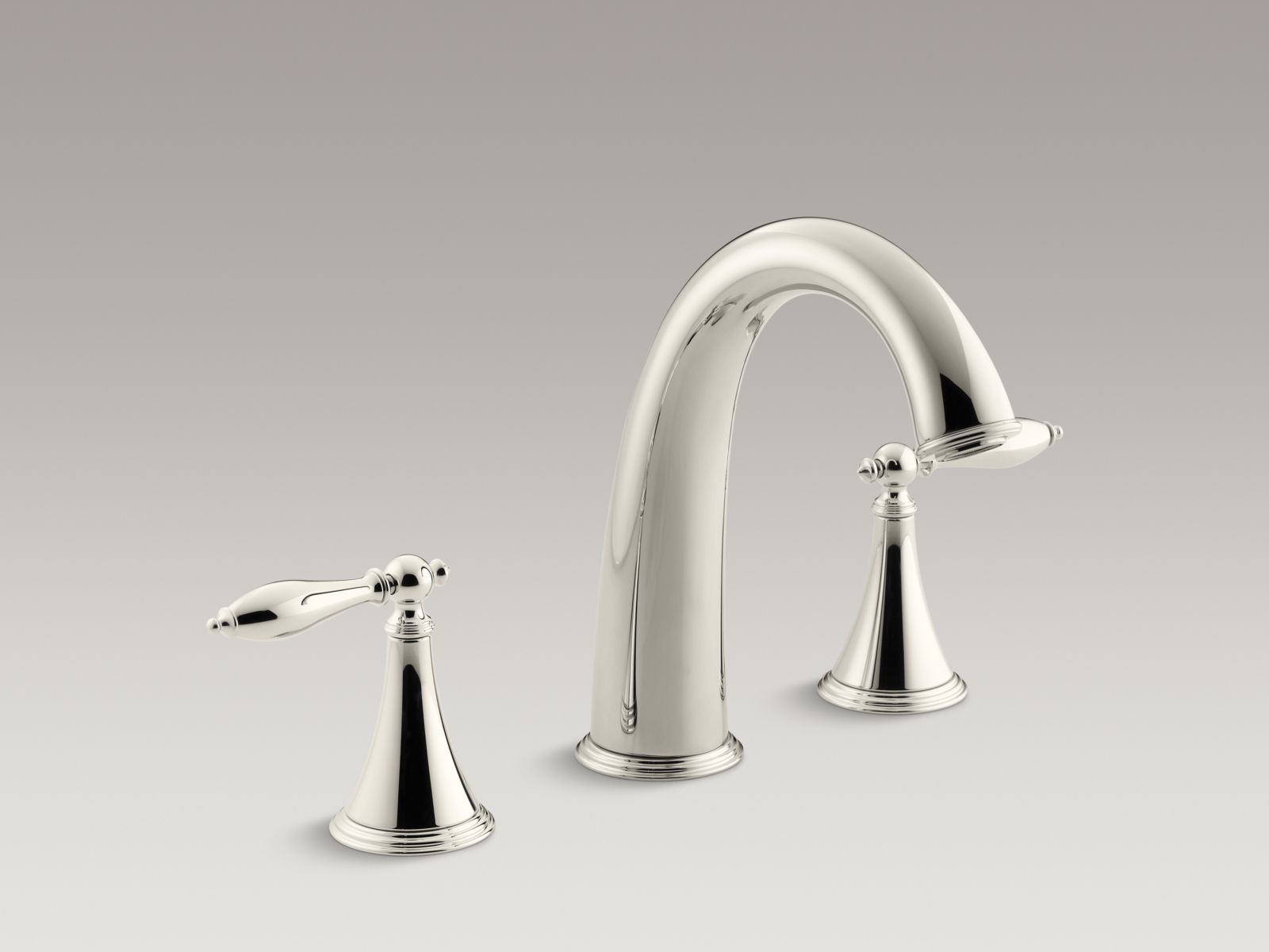 Kohler Finial® Traditional K-T314-4M-SN Deck-mount bath faucet trim for high-flow valve with lever handles, valve not included Vibrant Polished Nickel