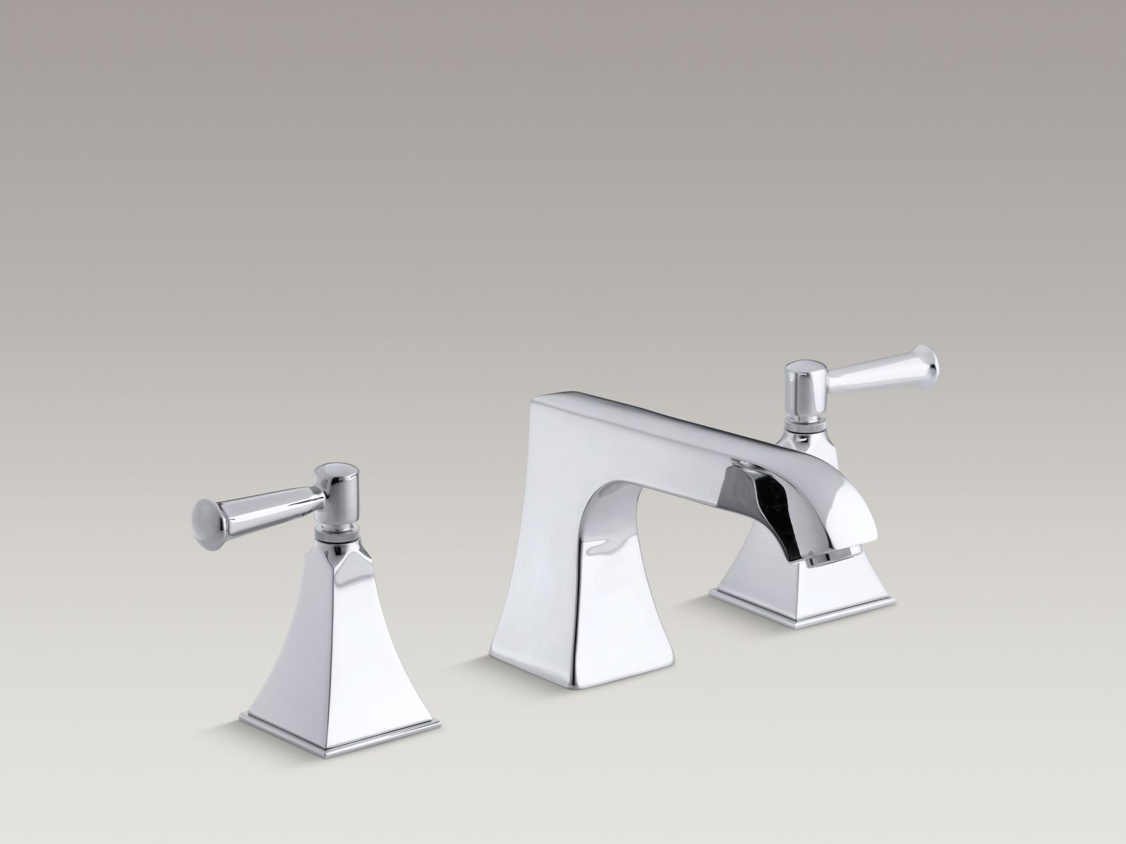 Kohler Memoirs® K-T469-4S-CP Stately deck-mount bath faucet trim with non-diverter spout and lever handles, valve not included Polished Chrome