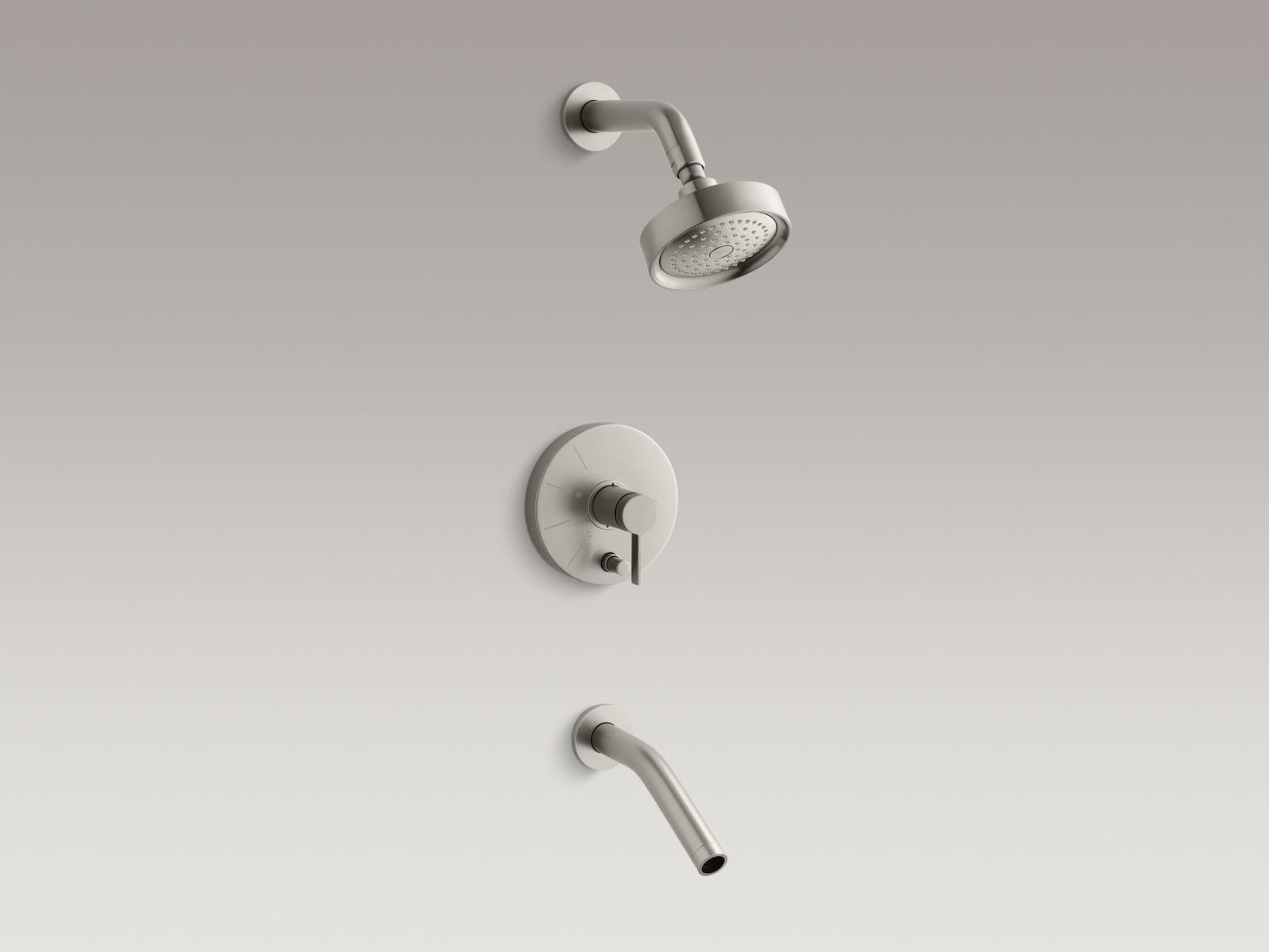 Kohler Stillness® K-T948-4-BN Rite-Temp® pressure-balancing bath and shower faucet trim with lever handle, valve not included Vibrant Brushed Nickel
