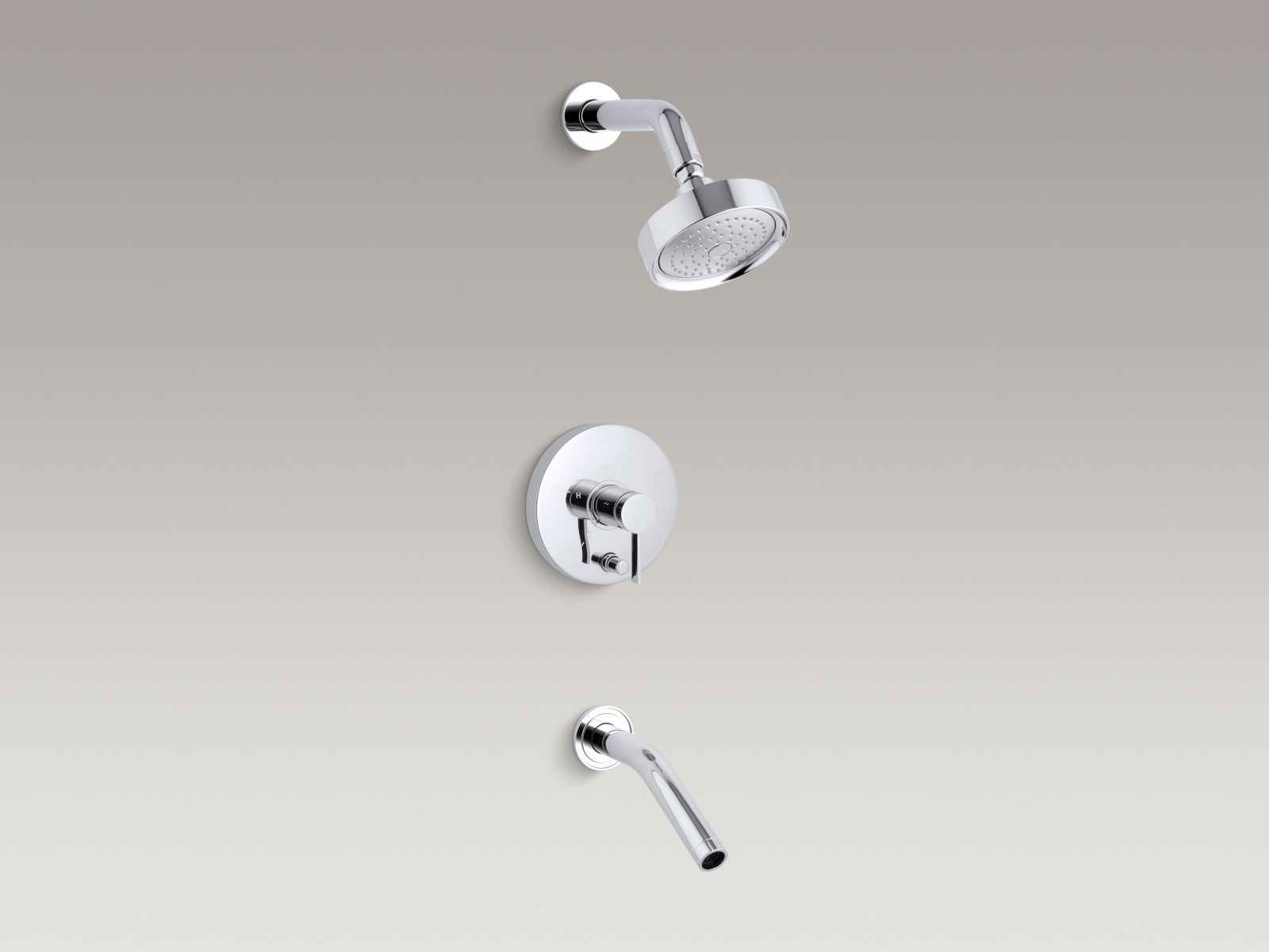 Kohler Stillness® K-T948-4-CP Rite-Temp® pressure-balancing bath and shower faucet trim with lever handle, valve not included Polished Chrome