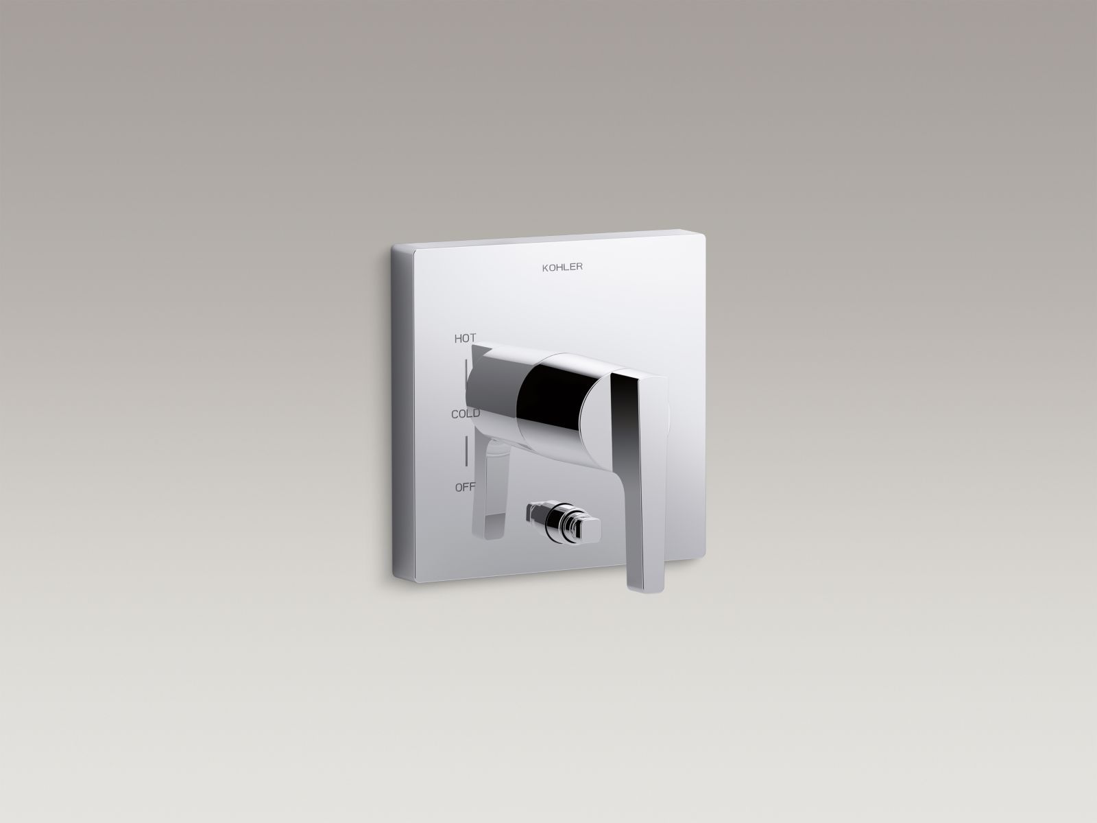Kohler Honesty™ K-T99762-4-CP valve trim with push-button diverter and lever handle for Rite-Temp® pressure-balancing valve, requires valve Polished Chrome