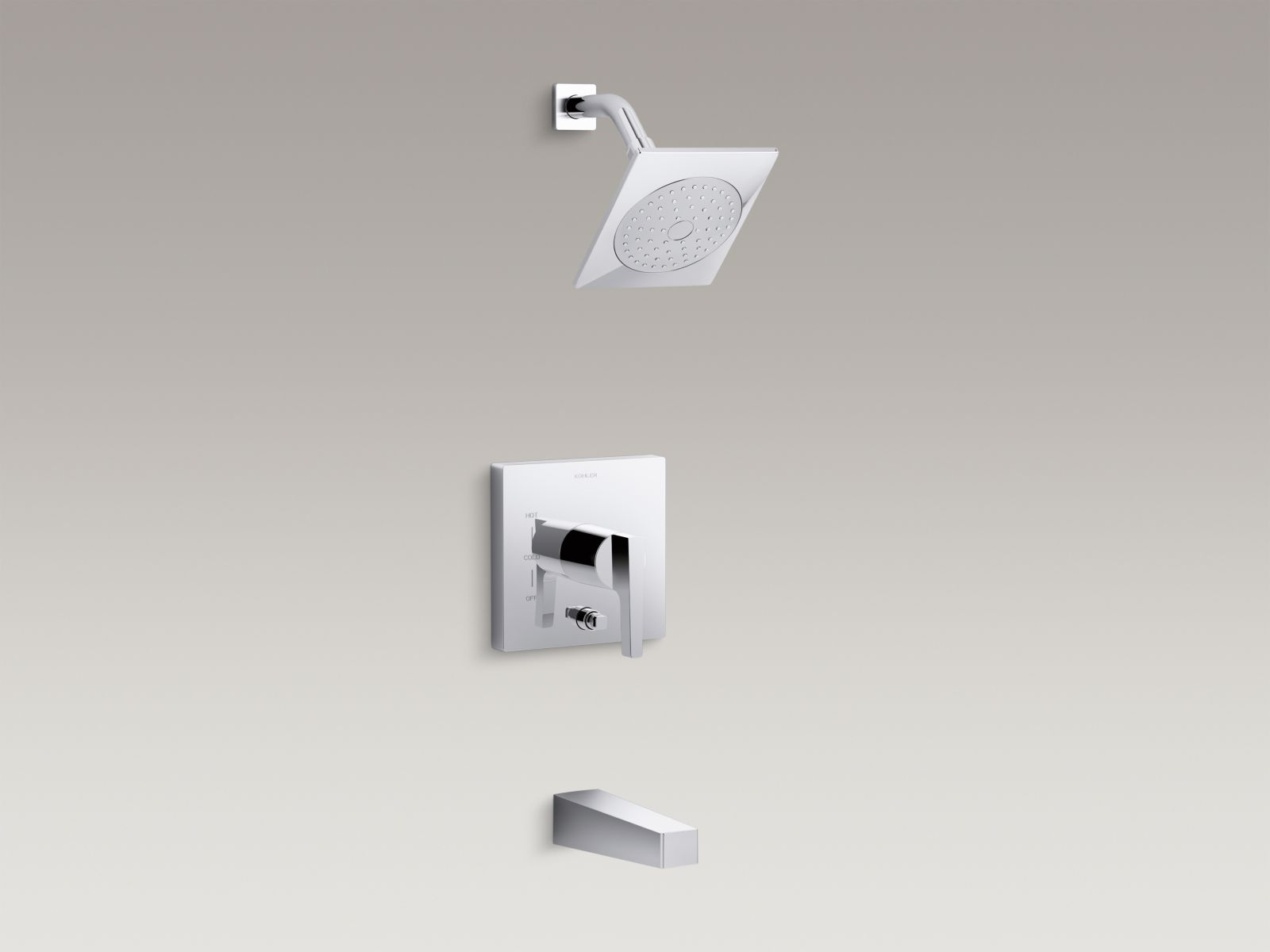Kohler Honesty™ K-T99763-4-CP bath and shower trim set with 2.0 gpm showerhead and lever handle for Rite-Temp® pressure-balancing valve Polished Chrome