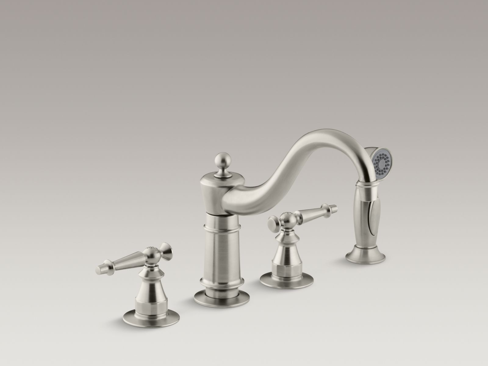 Kohler K-158-4-BN Antique Widespread Kitchen Faucet with Sidespray and Lever Handles Vibrant Brushed Nickel