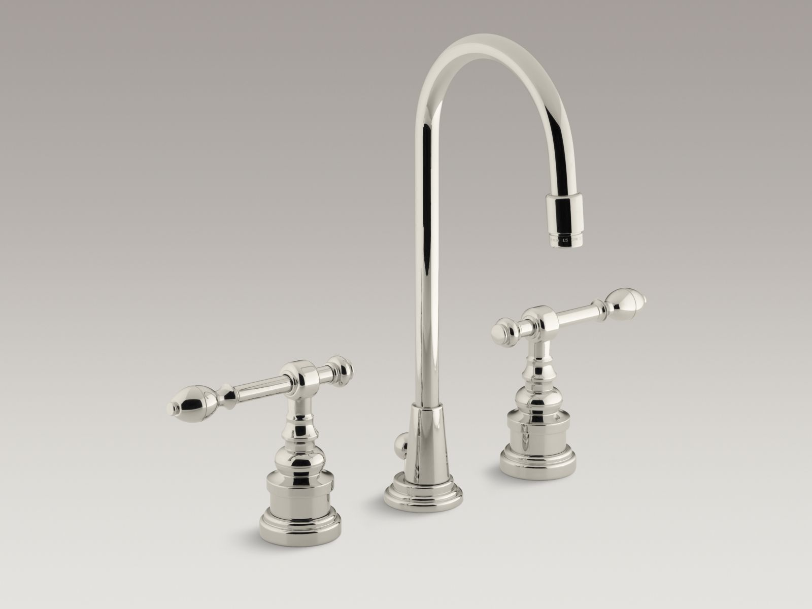 Kohler K-6813-4-SN IV Georges Brass Widespread Bathrom Sink Faucet with High Country Spout and Lever Handles Vibrant Polished Nickel