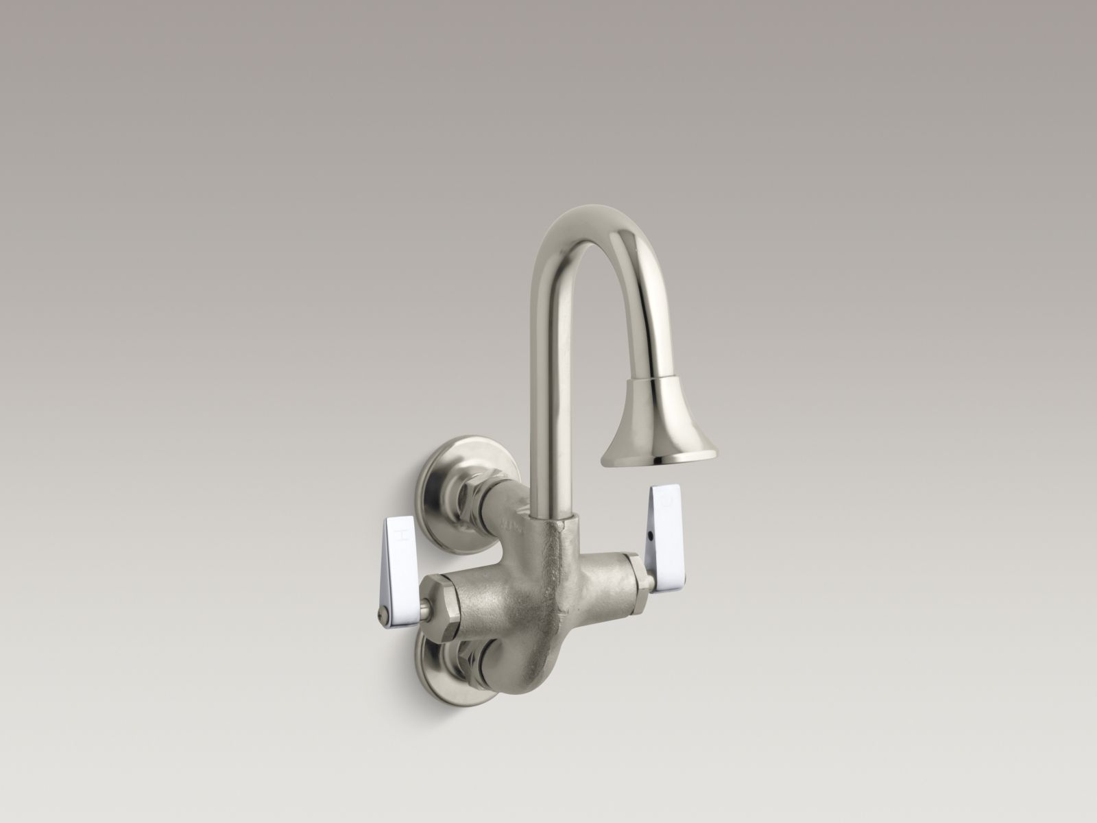 Kohler K-8892-RP Cannock Wall-mounted Two Lever-handles Wash Sink Faucet with Rosespray Spout Rough Plate