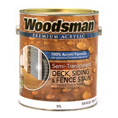 Woodsman Acrylic Deck, Siding & Fence Stain, Semi-Transparent, Redwood, 1-Gal.