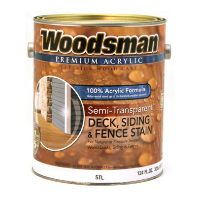 Woodsman Acrylic Deck, Siding & Fence Stain, Semi-Transparent Neutral Base, 1-Gal.