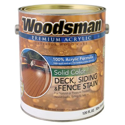 Woodsman Acrylic Deck, Siding & Fence Stain, Solid, Rustic Brown, 1-Gal.