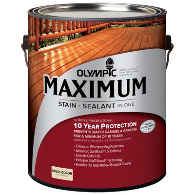 Olympic Maximum Deck, Fence & Siding Stain & Sealant, Exterior, Acrylic, Tint Base 2, 1-Gal.