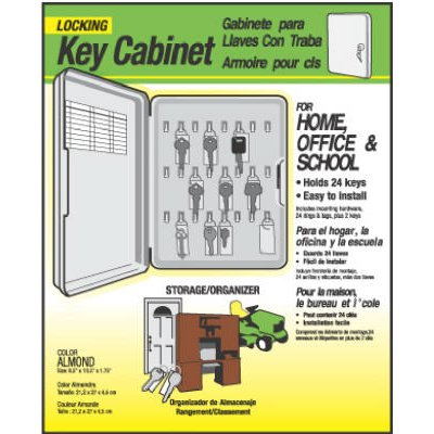 Hy-Ko Key Cabinet, Lockable, Holds 24 Keys, Plastic